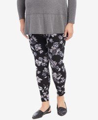 Motherhood Maternity Plus Size Floral Print Leggings Navy Floral