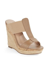 Charles By Charles David Alto Leather Platform Wedge Sandals Nude