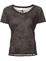 Unravel Camouflage Print T Shirt Green
