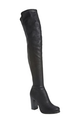 Calvin Klein 'Bisma' Over The Knee Boot Women Black Pebbled Stretch