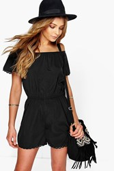 Boohoo Off The Shoulder Woven Playsuit Black