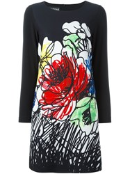 Boutique Moschino Floral Print Jersey Dress Black