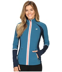 New Balance Precision Run Jacket Castaway Guava Women's Coat Blue