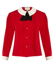 Gucci Contrast Collar Silk Crepe Blouse Red