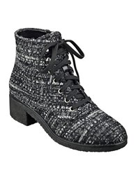 Marc Fisher Donell Tweed Lace Up Boots Black