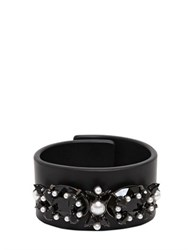 Givenchy Crystal Pearls Jewels Leather Bracelet