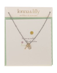 Lonna And Lilly Cz Worn Lock Key Pendant Necklace Gold