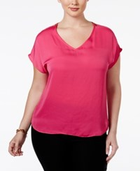 Inc International Concepts Plus Size Short Sleeve Zip Shoulder Top Only At Macy's Intense Pink