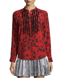 Zadig And Voltaire Chai Printed Long Sleeve Silk Top Rouge