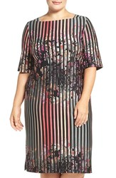 Gabby Skye Plus Size Women's Floral Stripe Sheath Dress