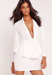 Missguided Long Sleeve Plunge Peplum Bodycon Dress White White