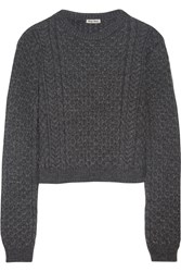 Miu Miu Cropped Cable Knit Sweater Gray