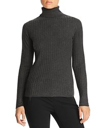 Magaschoni Thin Ribbed Cashmere Turtleneck Sweater Charcoal