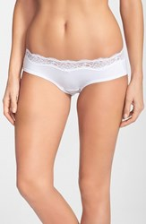 Women's Dkny 'Downtown' Lace Trim Cotton Hipster Briefs White