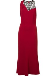 Roland Mouret Round Neck Fitted Dress Red