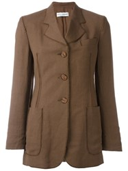 Dolce And Gabbana Vintage Exposed Seam Blazer Brown