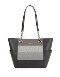 Calvin Klein Leather Wool Accented Tote Grey Stripe
