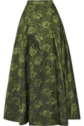 Alice Olivia Carey Metallic Jacquard Maxi Skirt Leaf Green