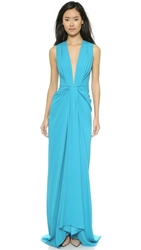 Thakoon V Neck Plunge Front Gown Turquoise