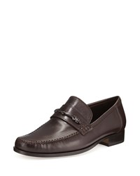 Bruno Magli Pittore Leather Horsebit Loafer Dark Brown