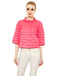 Add Quilted Nylon Down Jacket Neon Pink
