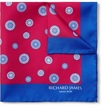 Richard James Compass Printed Silk Twill Pocket Square Claret