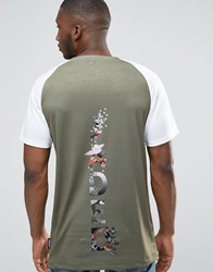 Jaded London Raglan T Shirt With Back Print Khaki Green