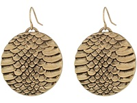 Sam Edelman Snakeskin Snake Disc Drop Earrings Gold Ox Earring