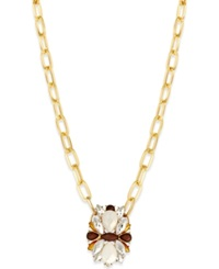 Bar Iii Gold Tone Grey Stone Flower Long Pendant Necklace
