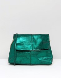 Asos Leather Metallic Foldover Cross Body Bag With Chain Detail Gree Green