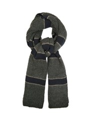 Brunello Cucinelli Striped Wool And Cashmere Blend Scarf Navy