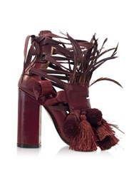 N 21 Burgundy Leather Heel Sandal W Pom Pom Tassel And Fringe