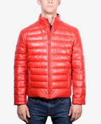 Boston Harbour Men's Packable Leather Puffer Jacket Red