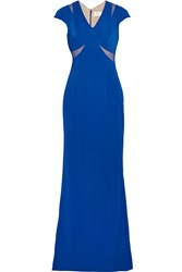 Mikael Aghal Tulle Trimmed Jersey Gown Blue