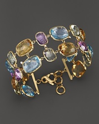 Vianna Brasil 18K Yellow Gold Bracelet With Amethyst Blue Topaz Citrine Prasiolite And Diamond Accents Multi Gold
