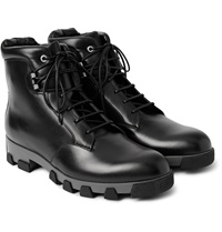 Balenciaga Lug Sole Leather Lace Up Boots