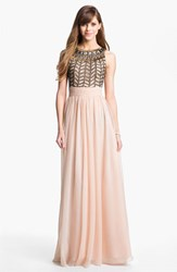 Women's Js Collections Embellished Chiffon Gown Rose