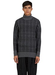 Curieux Mixed Yarn Roll Neck Knit Sweater Grey