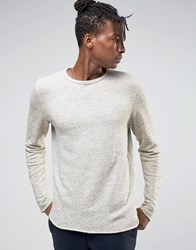 Selected Homme Crew Neck Sweat With Curved Hem Grey