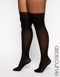 Asos Curve Mock Over The Knee Tights With Support Black