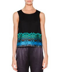 Missoni Sleeveless Stereo Hem Crop Top Black Turquoise Green Black Turq Green