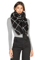 Hat Attack Windowpane Blanket Scarf Black And White
