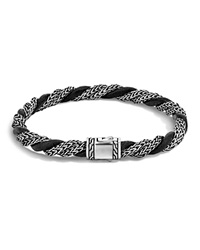 John Hardy Classic Chain Sterling Silver Twisted Chain Bracelet With Black Leather Cord Black Silver