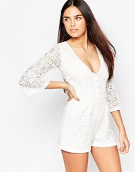 Motel Dancer Bohemian Playsuit In Lace White