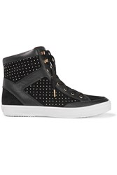 Rebecca Minkoff Smith Studded Leather And Suede Sneakers Black