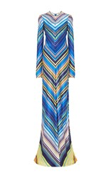 Naeem Khan Chevron Silk Gown Stripe