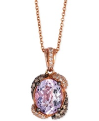 Le Vian Pink Amethyst 2 1 5 Ct. T.W. And Diamond 3 8 Ct. T.W. Pendant Necklace In 14K Rose Gold