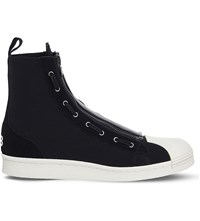 Adidas Y3 Pro Zip Neoprene And Suede High Top Trainers Black Ecru