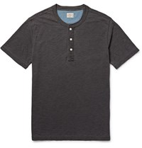 Faherty Indigo Dyed Slub Cotton Jersey Henley T Shirt Black