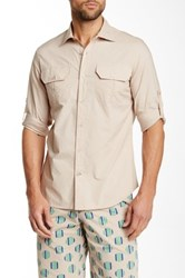 Ganesh Beige Flap Pocket Long Sleeve Slim Fit Shirt